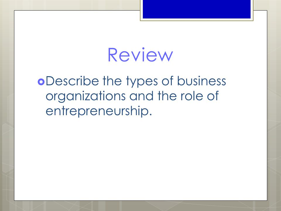 Review  Describe the types of business organizations and the role of entrepreneurship.