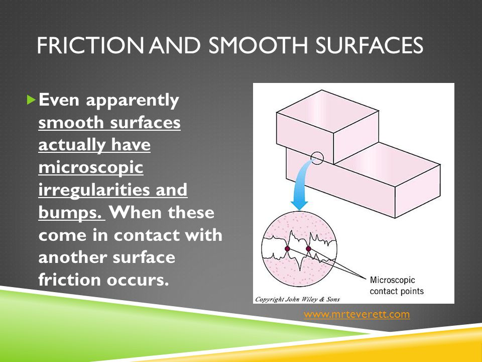 FRICTION AND SMOOTH SURFACES  Even apparently smooth surfaces actually have microscopic irregularities and bumps. When these come in contact with ano