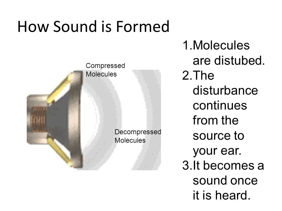 How Sound is Formed 1.Molecules are distubed.