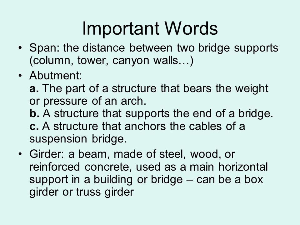 Suspension Typical Span Lengths: 70m - 1,000m+ World s Longest: Akashi Kaikyo Bridge, Japan Total Length: 3,911m Center Span: 1,991m www.bergen.org/.../2002/wp_bridge/akashi.jpg