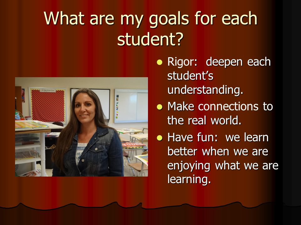 What are my goals for each student? : deepen each student's understanding. Rigor: deepen each student's understanding. Make to the real world. Make co