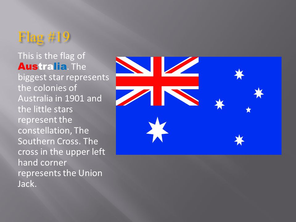 Flag #19 This is the flag of Australia.