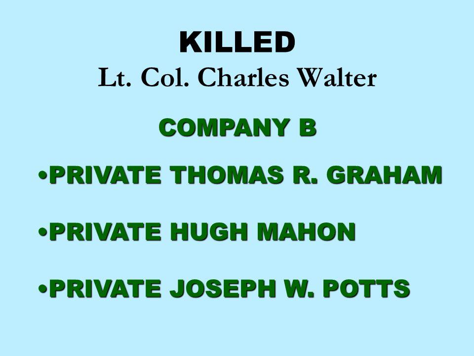 KILLED Lt. Col. Charles Walter COMPANY B PRIVATE THOMAS R. GRAHAMPRIVATE THOMAS R. GRAHAM PRIVATE HUGH MAHONPRIVATE HUGH MAHON PRIVATE JOSEPH W. POTTS