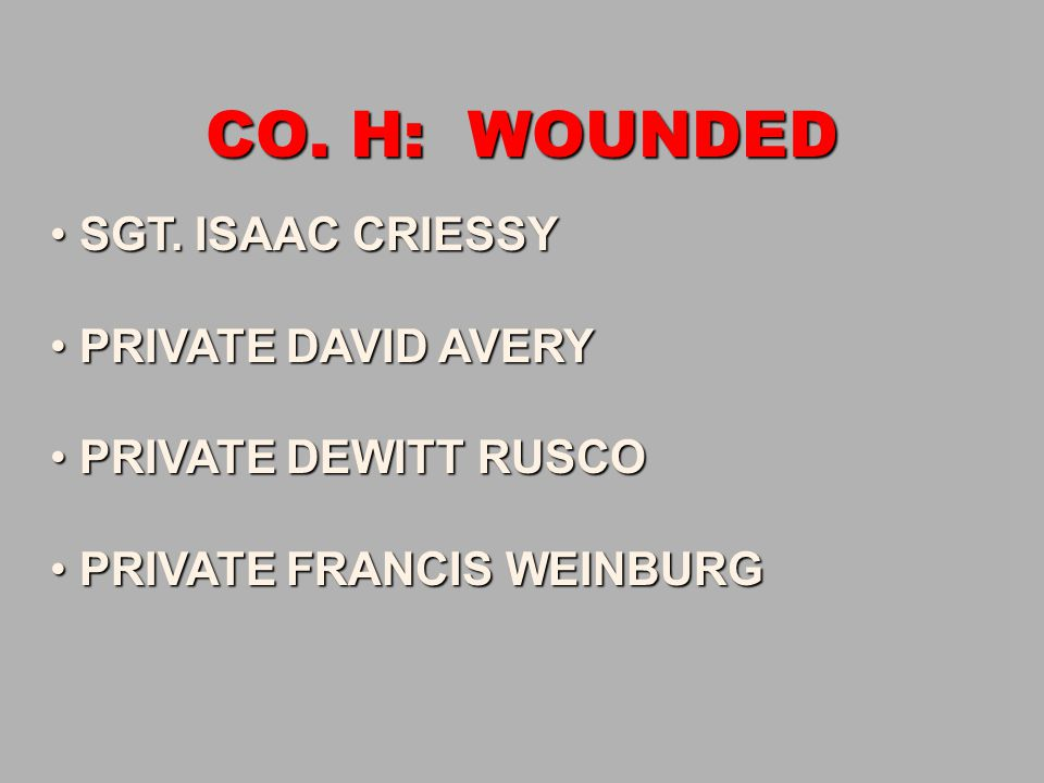 CO. H: WOUNDED SGT. ISAAC CRIESSY SGT. ISAAC CRIESSY PRIVATE DAVID AVERY PRIVATE DAVID AVERY PRIVATE DEWITT RUSCO PRIVATE DEWITT RUSCO PRIVATE FRANCIS
