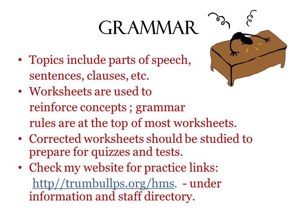 Grammar Topics include parts of speech, sentences, clauses, etc. Worksheets are used to reinforce concepts ; grammar rules are at the top of most work