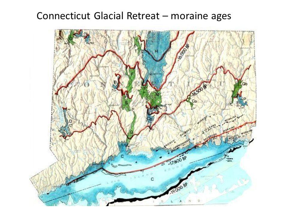 Connecticut Glacial Retreat – moraine ages