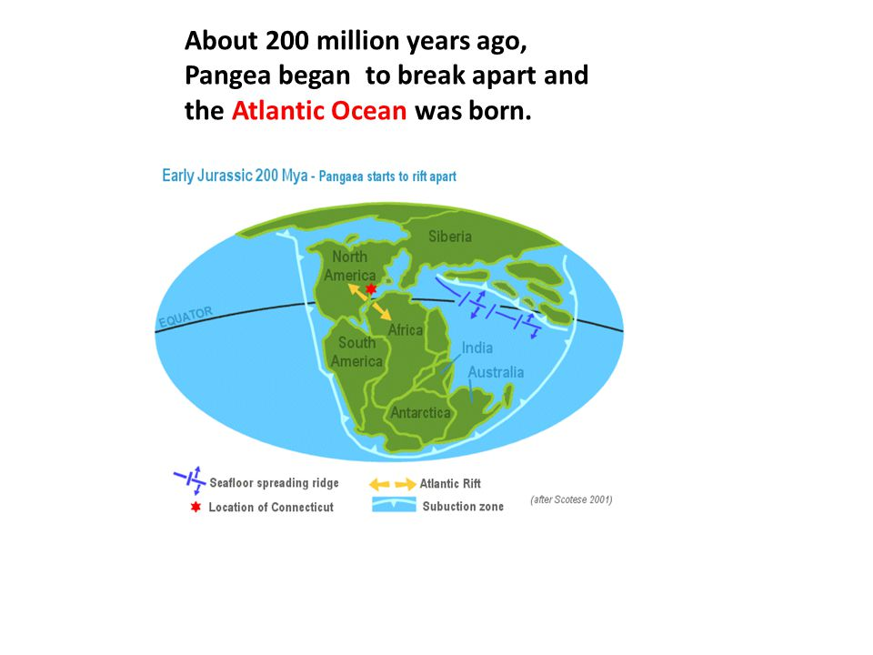 About 200 million years ago, Pangea began to break apart and the Atlantic Ocean was born.