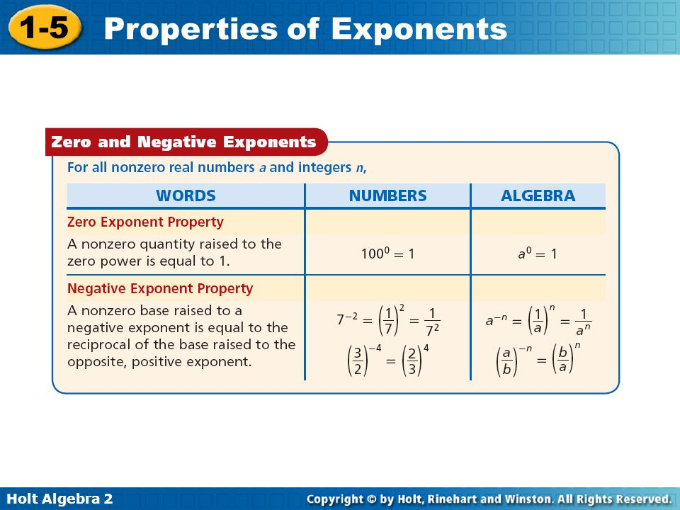 Holt Algebra 2 1-5 Properties of Exponents