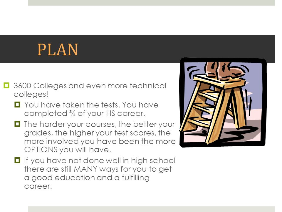 PLAN  3600 Colleges and even more technical colleges!  You have taken the tests. You have completed ¾ of your HS career.  The harder your courses,