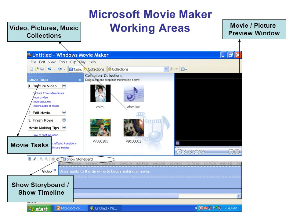 Microsoft Movie Maker Working Areas Show Storyboard / Show Timeline Movie Tasks Movie / Picture Preview Window Video, Pictures, Music Collections