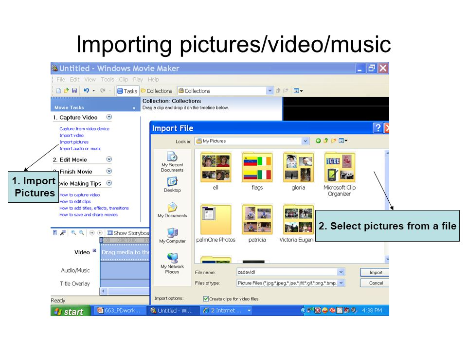 Importing pictures/video/music 1. Import Pictures 2. Select pictures from a file