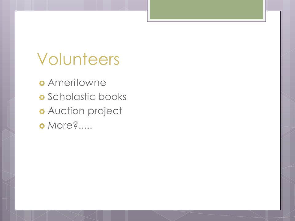 Volunteers  Ameritowne  Scholastic books  Auction project  More?.....