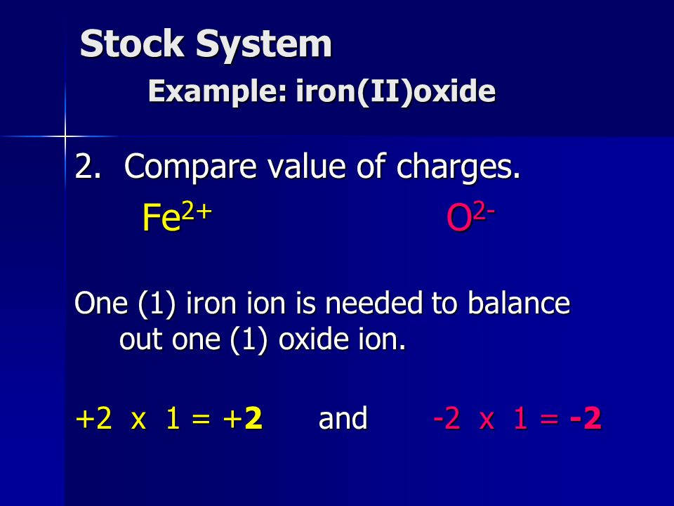Stock System Example: iron(II)oxide 2. Compare value of charges. Fe 2+ O 2- One (1) iron ion is needed to balance out one (1) oxide ion. +2 x 1 = +2 a
