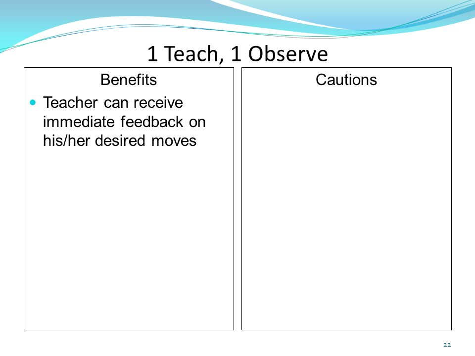 1 Teach, 1 Observe Benefits Teacher can receive immediate feedback on his/her desired moves Cautions 22