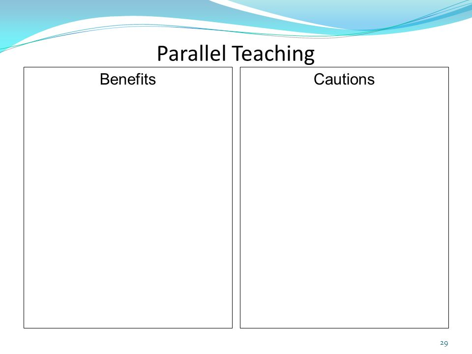 Parallel Teaching Benefits Cautions 29
