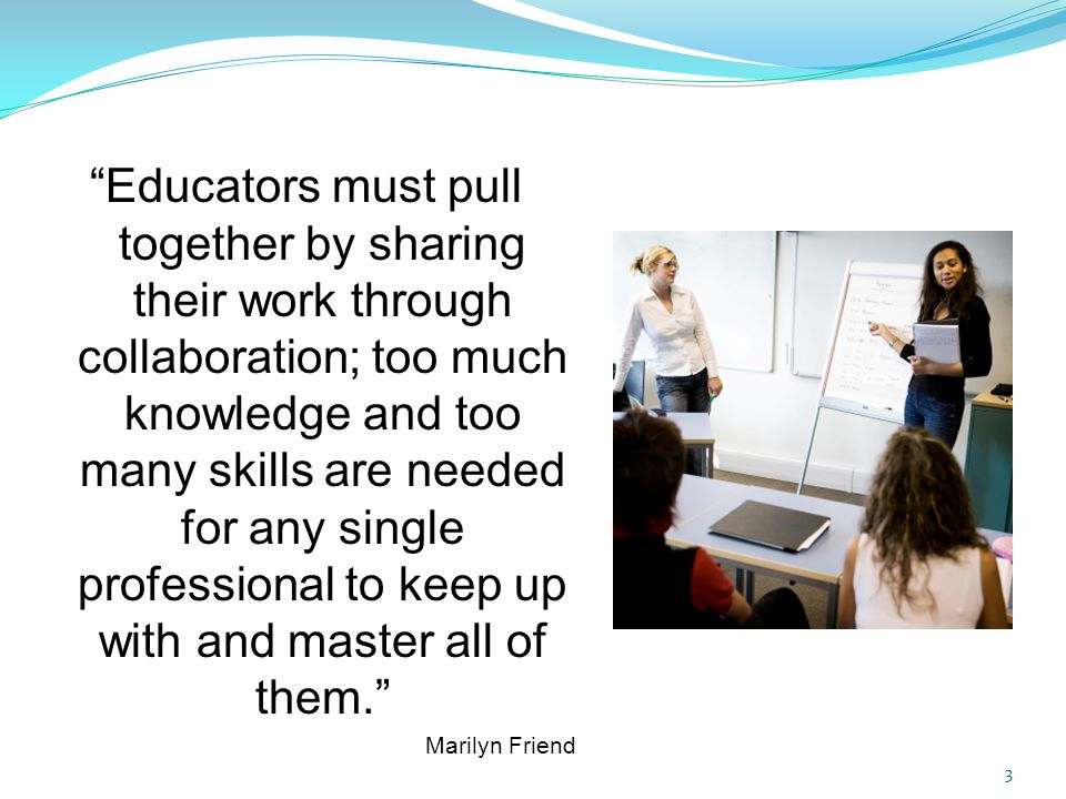 Four key elements to co-teaching: 1.Two or more professionals working together in a classroom.
