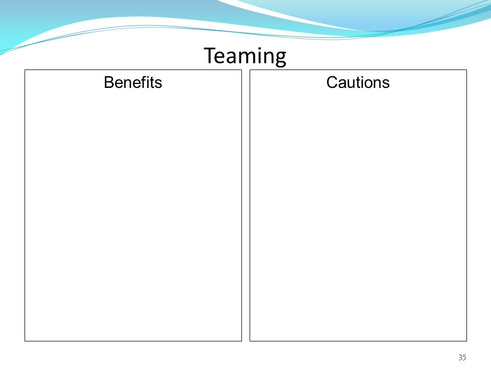 Teaming Benefits Cautions 35