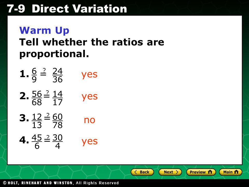 Holt CA Course 1 7-9Direct Variation Mrs.