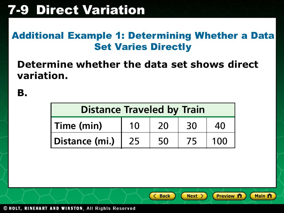 Holt CA Course 1 7-9Direct Variation Method 1: Make a graph.