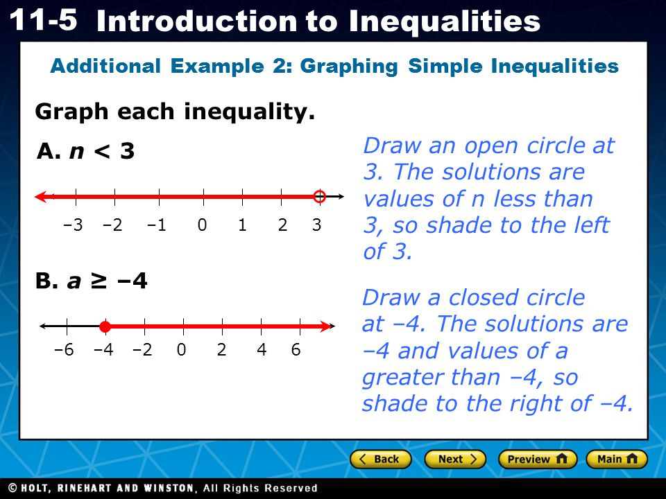 Holt CA Course 1 11-5 Introduction to Inequalities Graph each inequality. Additional Example 2: Graphing Simple Inequalities –3 –2 –1 0 1 2 3 A. n < 3