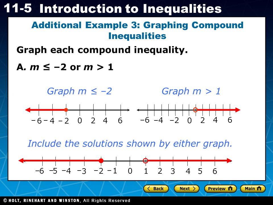 Holt CA Course 1 11-5 Introduction to Inequalities Graph each compound inequality. Additional Example 3: Graphing Compound Inequalities 0 1 2 3 456 1