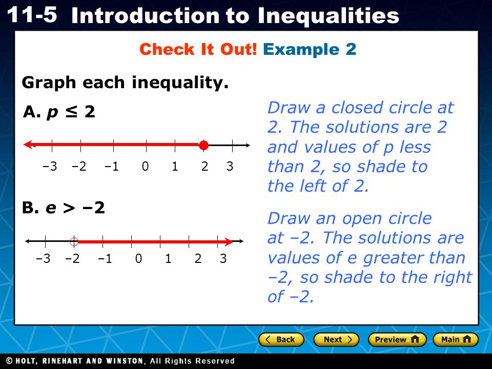 Holt CA Course 1 11-5 Introduction to Inequalities Graph each inequality. Check It Out! Example 2 –3 –2 –1 0 1 2 3 A. p ≤ 2 Draw a closed circle at 2.