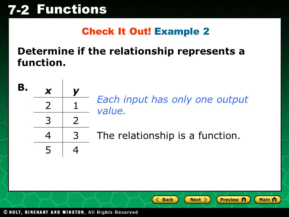Holt CA Course 1 7-2 Functions Determine if the relationship represents a function. B. Each input has only one output value. xy 21 32 43 54 The relati
