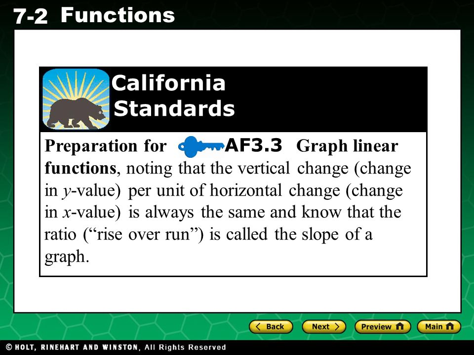 Holt CA Course 1 7-2 Functions Preparation for AF3.3 Graph linear functions, noting that the vertical change (change in y-value) per unit of horizonta
