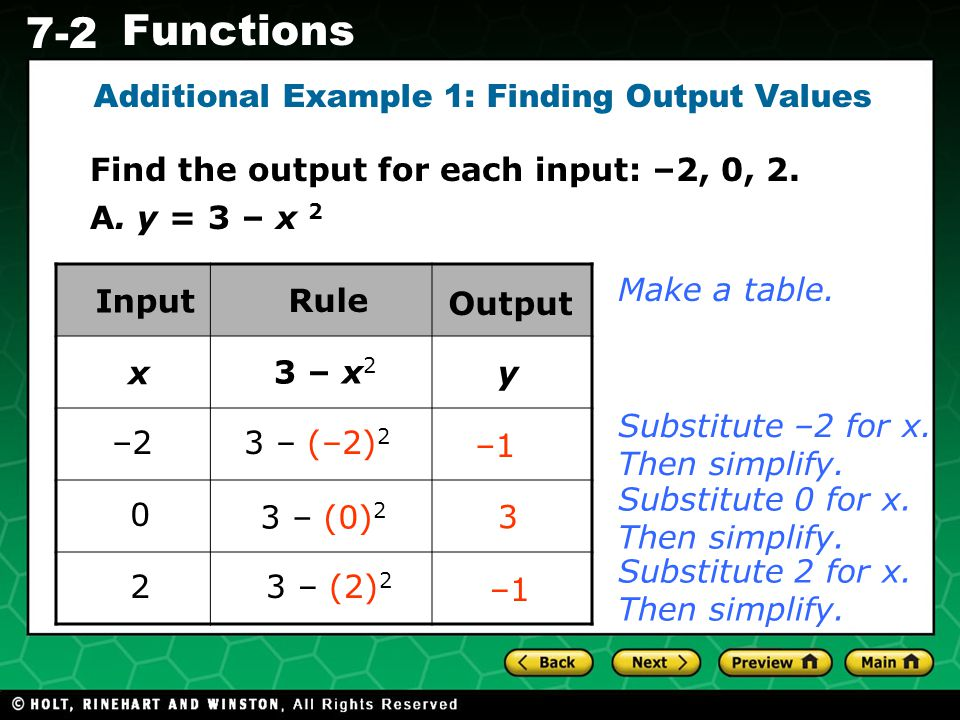 Holt CA Course 1 7-2 Functions The input values of a function are also called the domain.