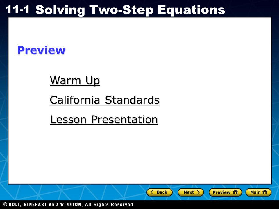 Holt CA Course 1 11-1 Solving Two-Step Equations Check It Out.