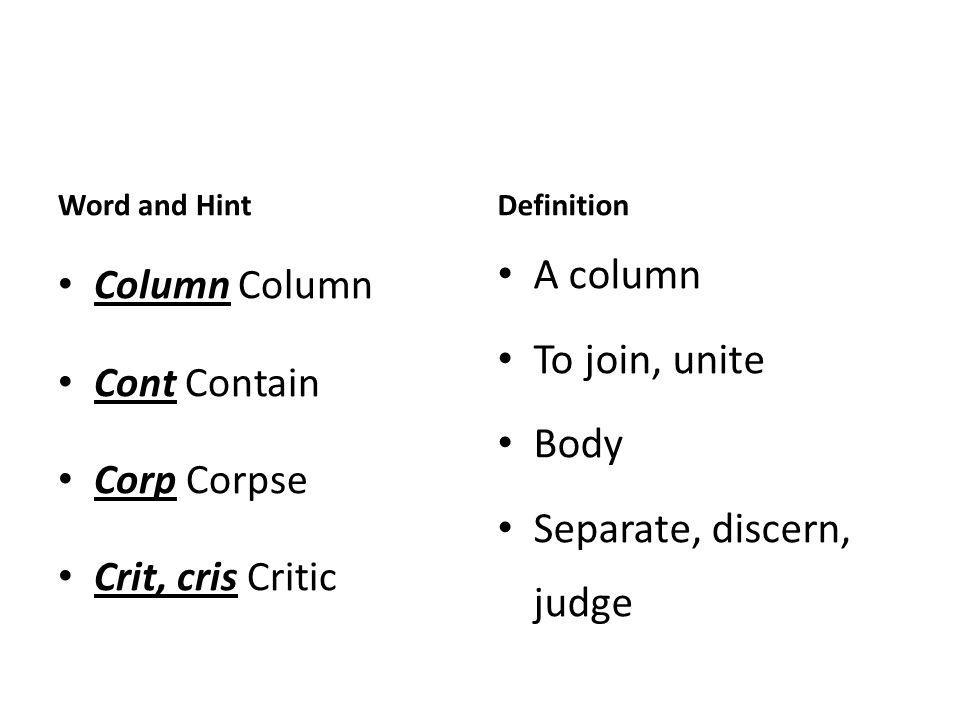 Word and Hint Column Column Cont Contain Corp Corpse Crit, cris Critic Definition A column To join, unite Body Separate, discern, judge