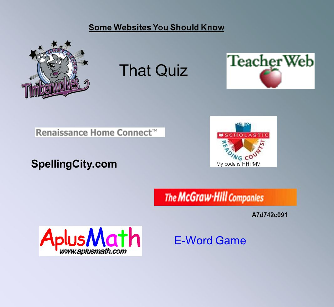 Some Websites You Should Know That Quiz SpellingCity.com E-Word Game A7d742c091 My code is HHPMV
