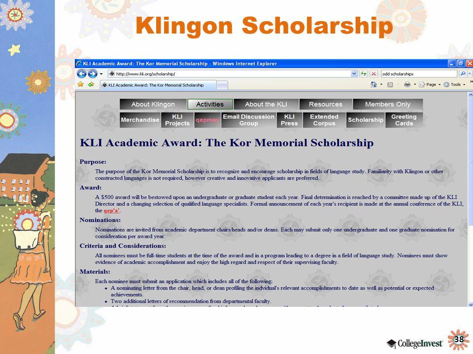 38 Klingon Scholarship