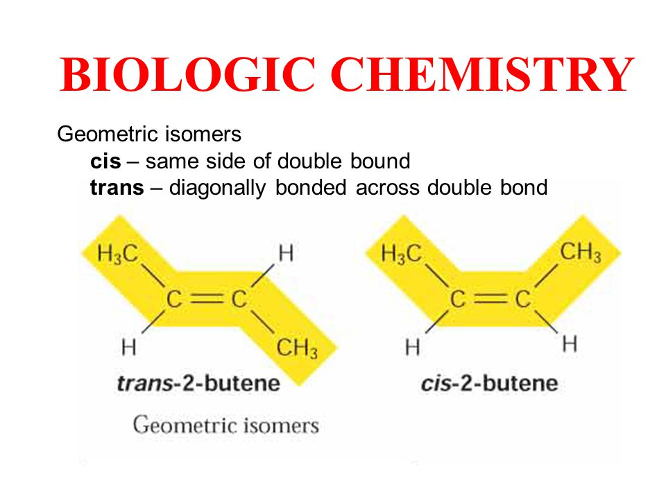 Geometric isomers cis – same side of double bound trans – diagonally bonded across double bond