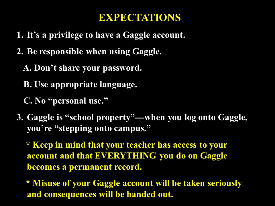 EXPECTATIONS 1.It's a privilege to have a Gaggle account.