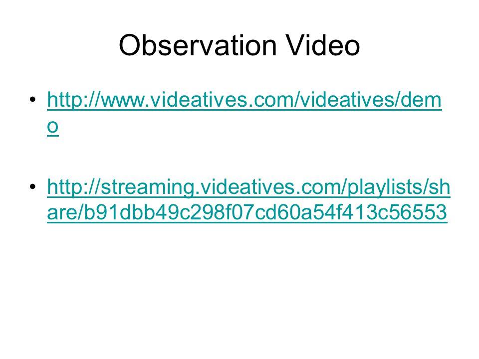 Observation Video http://www.videatives.com/videatives/dem ohttp://www.videatives.com/videatives/dem o http://streaming.videatives.com/playlists/sh are/b91dbb49c298f07cd60a54f413c56553http://streaming.videatives.com/playlists/sh are/b91dbb49c298f07cd60a54f413c56553