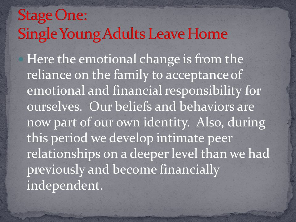 Here the emotional change is from the reliance on the family to acceptance of emotional and financial responsibility for ourselves.