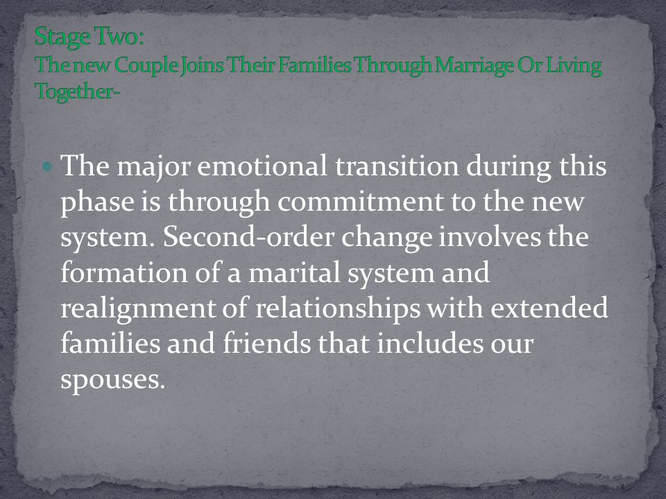 The major emotional transition during this phase is through commitment to the new system.