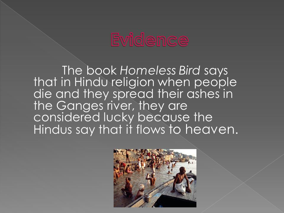 The book Homeless Bird says that in Hindu religion when people die and they spread their ashes in the Ganges river, they are considered lucky because the Hindus say that it flows to heaven.