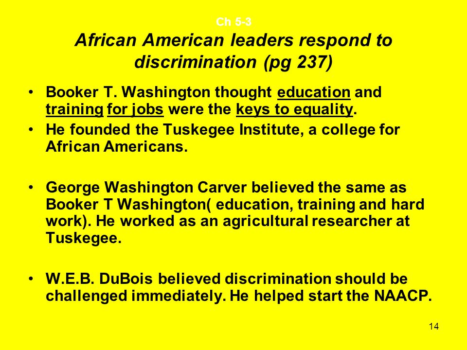 14 Ch 5-3 African American leaders respond to discrimination (pg 237) Booker T.
