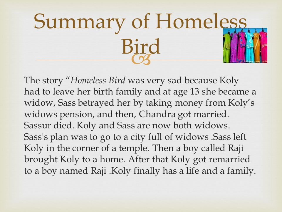  The story Homeless Bird was very sad because Koly had to leave her birth family and at age 13 she became a widow, Sass betrayed her by taking money from Koly's widows pension, and then, Chandra got married.