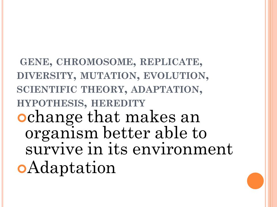 GENE, CHROMOSOME, REPLICATE, DIVERSITY, MUTATION, EVOLUTION, SCIENTIFIC THEORY, ADAPTATION, HYPOTHESIS, HEREDITY change that makes an organism better able to survive in its environment Adaptation