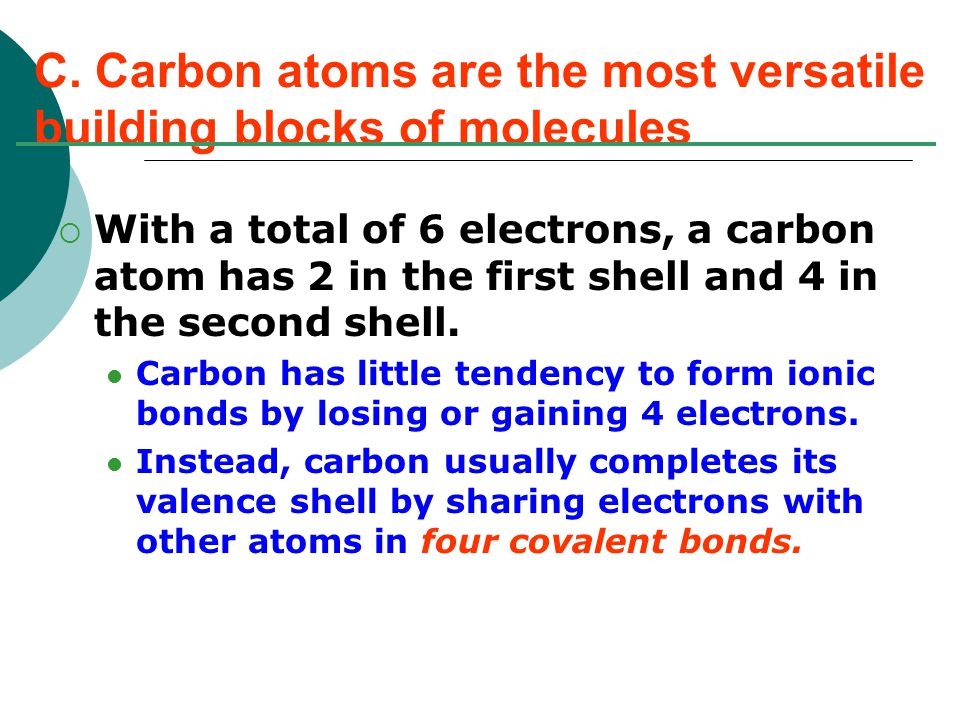  With a total of 6 electrons, a carbon atom has 2 in the first shell and 4 in the second shell.