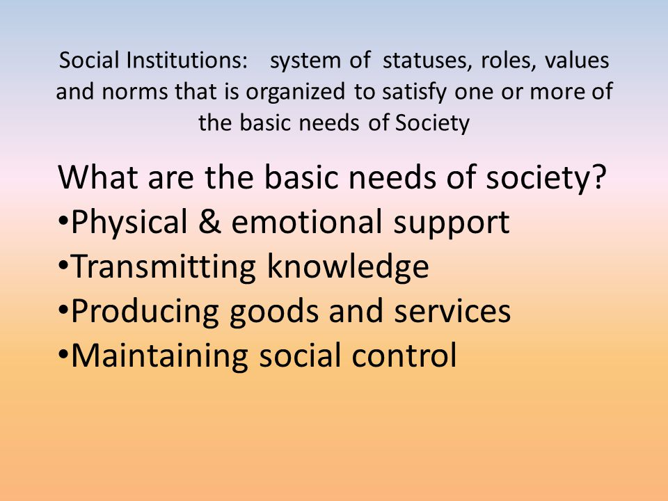 Social Institutions: system of statuses, roles, values and norms that is organized to satisfy one or more of the basic needs of Society What are the b