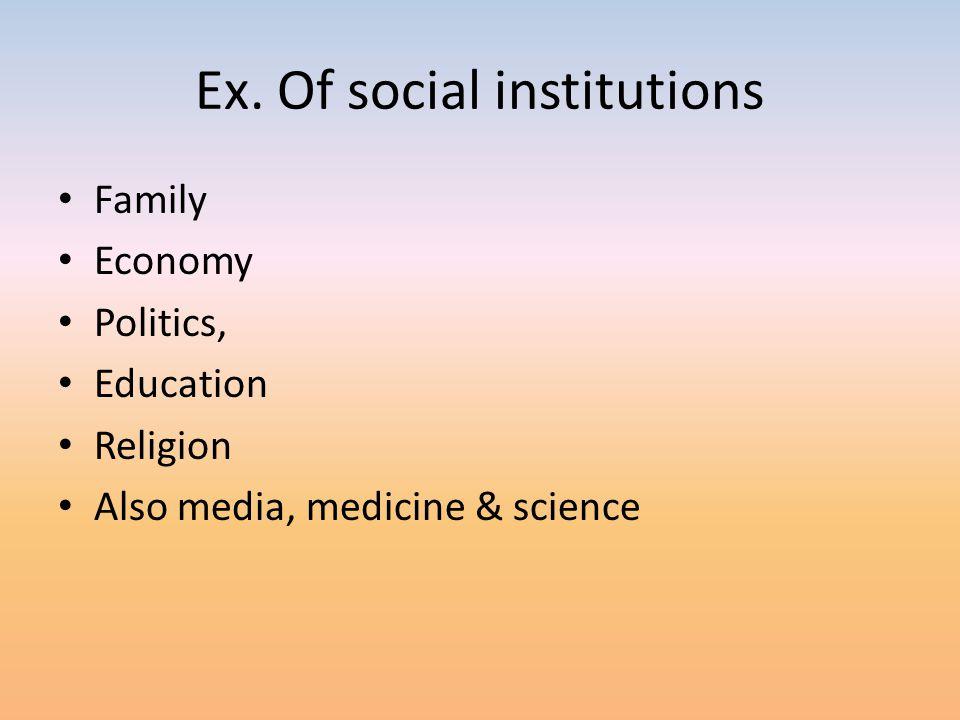 Ex. Of social institutions Family Economy Politics, Education Religion Also media, medicine & science