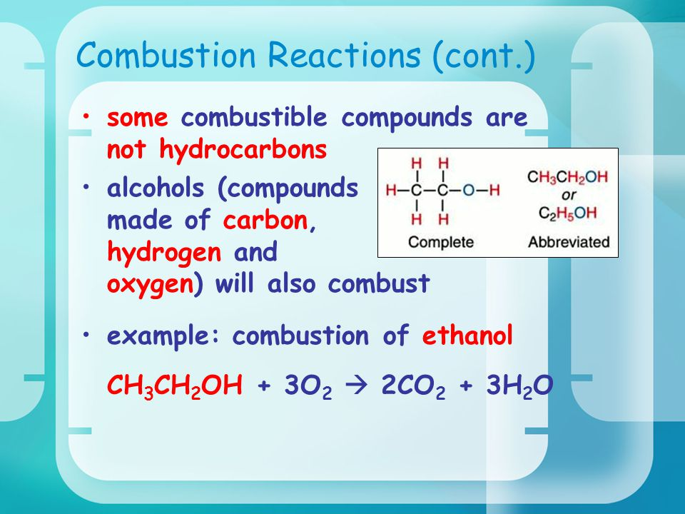 Combustion Reactions (cont.) some combustible compounds are not hydrocarbons alcohols (compounds made of carbon, hydrogen and oxygen) will also combust example: combustion of ethanol CH 3 CH 2 OH + 3O 2  2CO 2 + 3H 2 O