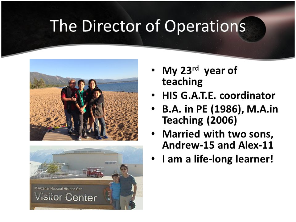 The Director of Operations My 23 rd year of teaching HIS G.A.T.E.