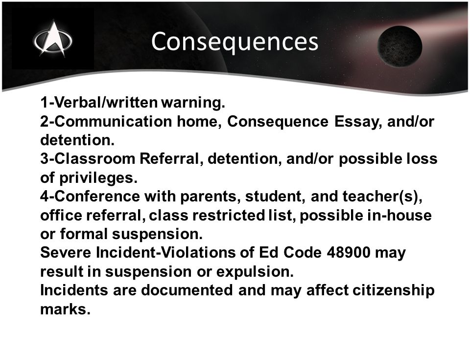 Consequences 1-Verbal/written warning. 2-Communication home, Consequence Essay, and/or detention.