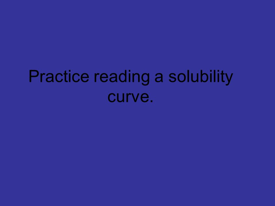 Practice reading a solubility curve.