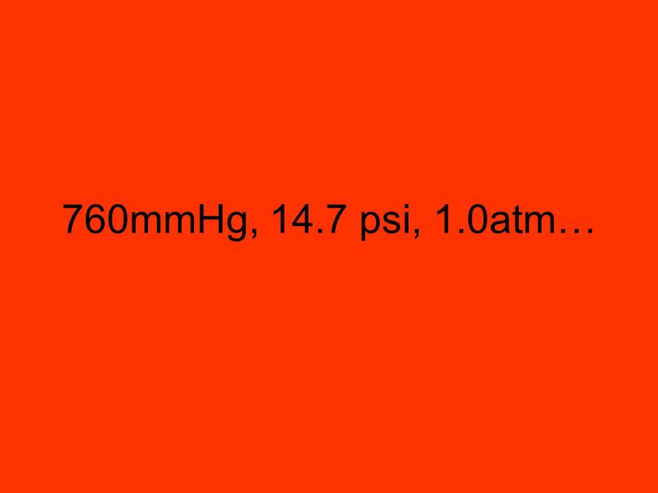 760mmHg, 14.7 psi, 1.0atm…
